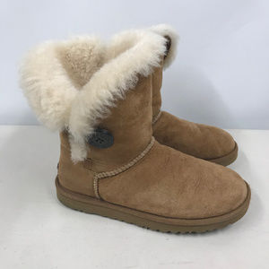UGG Suede Bailey Button Sheepskin Lined Boots